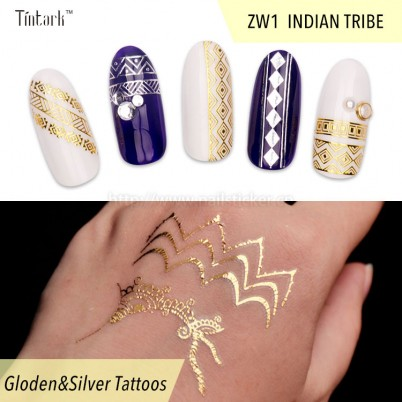 Custom New Fashion India Tribe Style Nail Art Sticker Decals 3d Nail