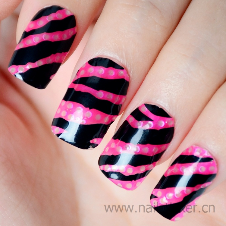 Wholesale black zebra nail art sticker decorated with fake rhinestone nail wrap