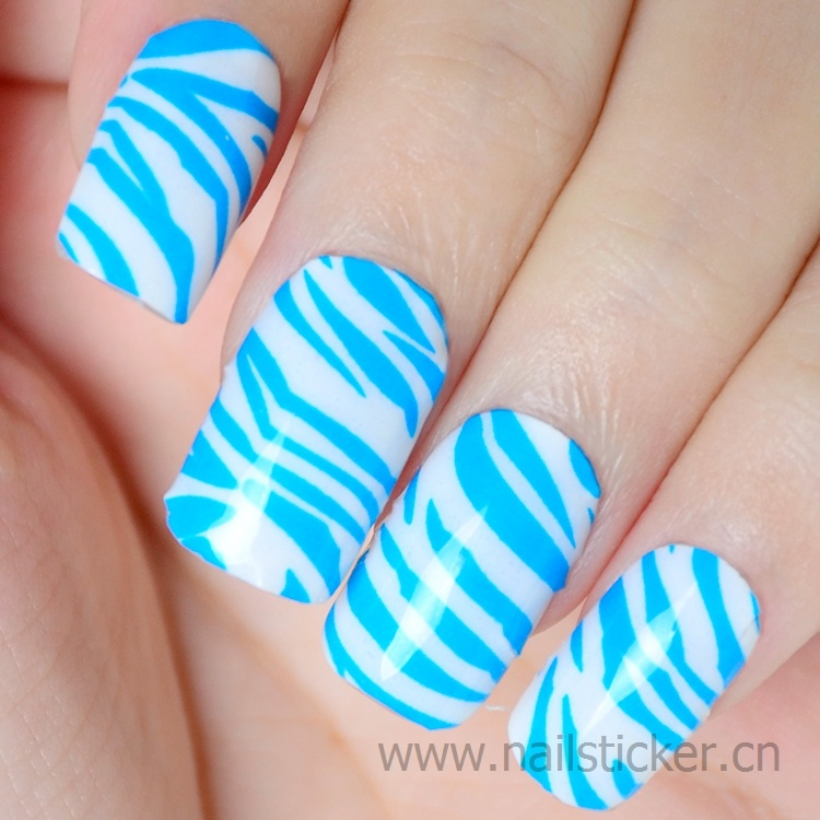 Wholesale flesh blue zebra nail art design waterproof nail art sticker travel fr
